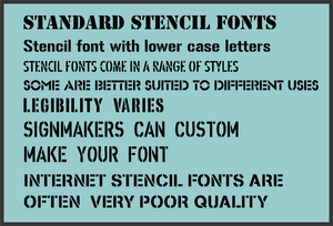 A range of stencil fonts
