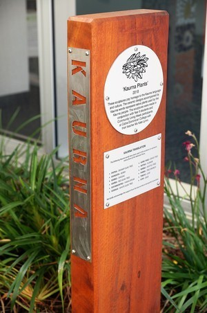 Information plaques on timber post